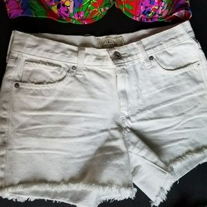 Lucky Brand Distressed White Denim Shorts